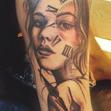 Clock Portrait Tattoo