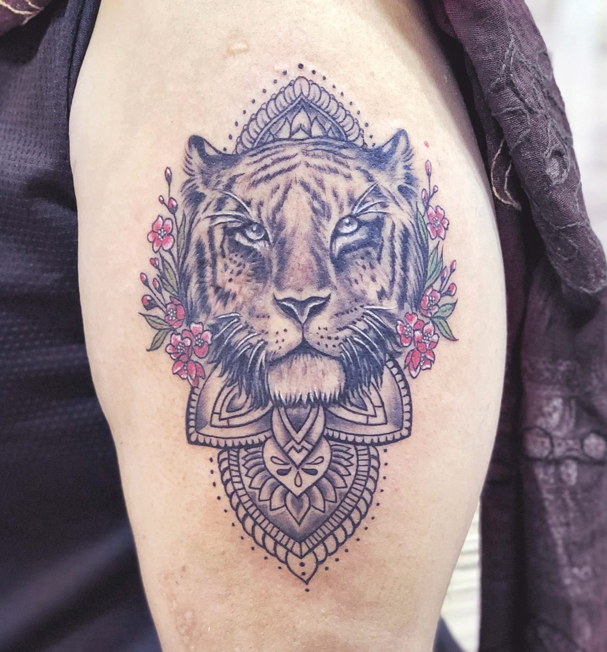 Traditional Floral Tiger Tattoo
