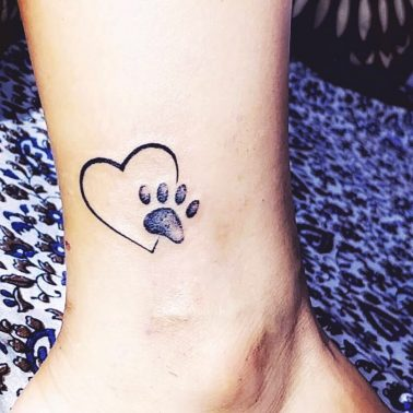 Dog Paw Heart Tattoo Image