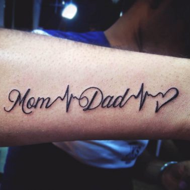 Mom Dad Script Lifeline Tattoo
