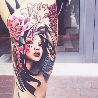 Abstract Portrait Floral Leg Tattoo