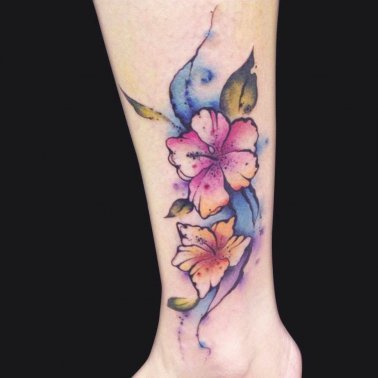 Abstract Water Colour Hibiscus Tattoo