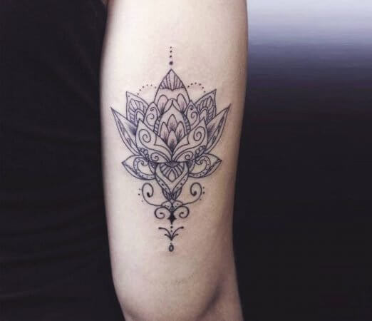 Traditional Floral Lotus Tattoo