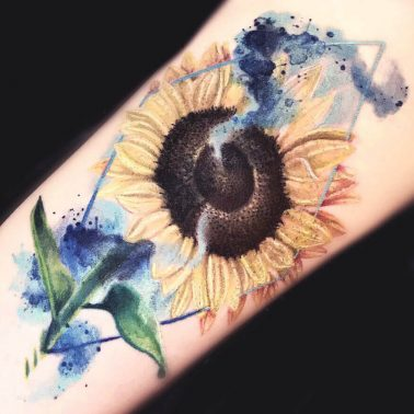 Water Colour Sunflower Tattoo