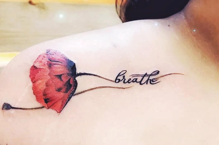 Script Carnation Flower Tattoo.