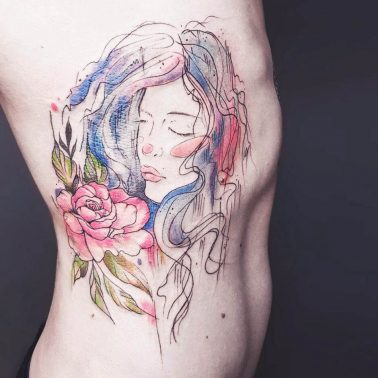 Abstract Floral Portrait Tattoo