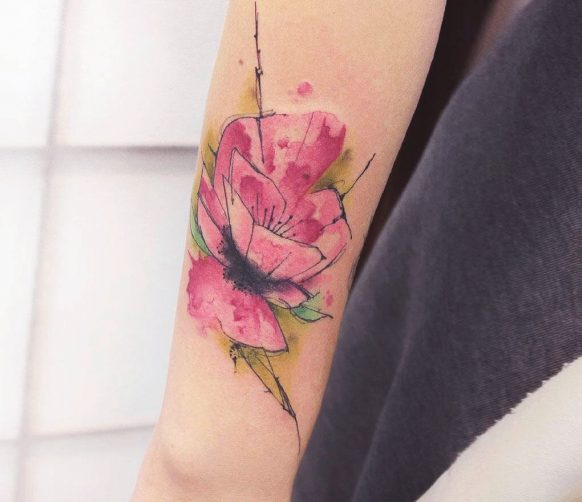 Water Colour Carnation Flower Tattoo