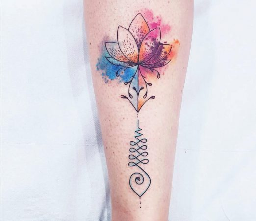 Unalome Water colour Floral Lotus Tattoo
