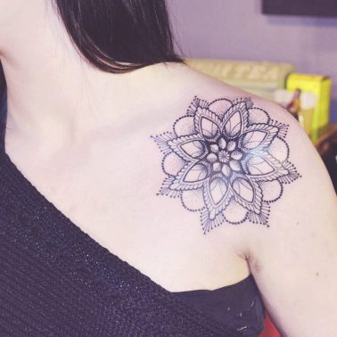 Traditional Mandala Shoulder Tattoo