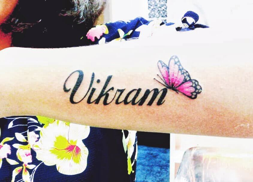 Butterfly Script Name Tattoo