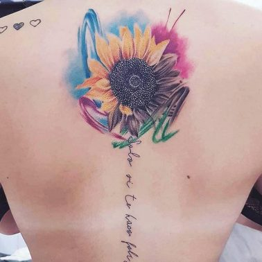 Script Brushstroke Sunflower Tattoo