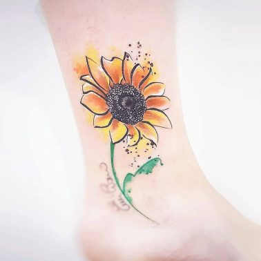 Water colour sunflower ankle tattoo