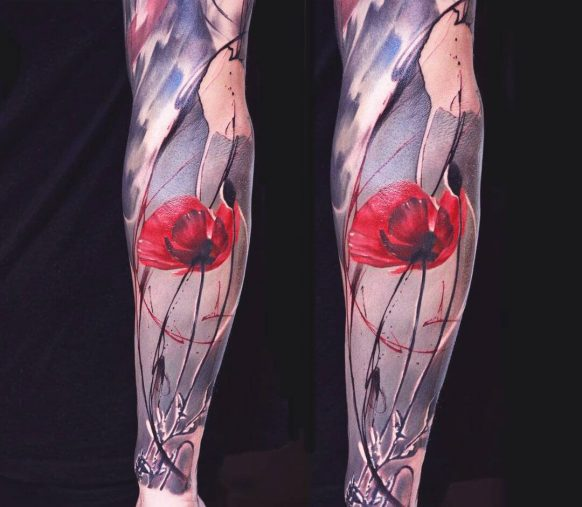 Abstract Carnation Flower Tattoo