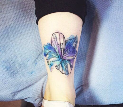Water Colour Hibiscus Tattoo