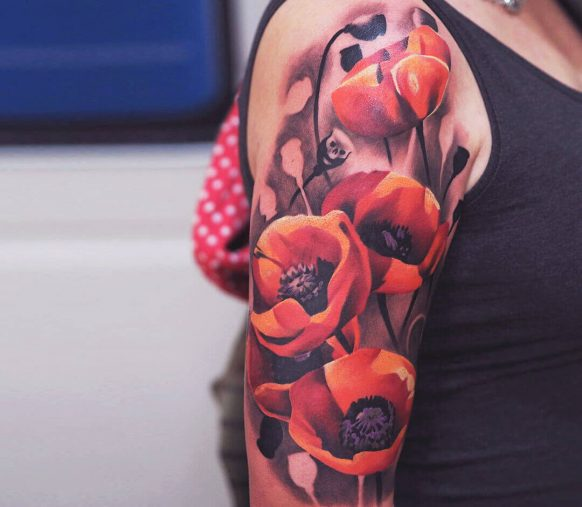 Realistic Carnation Flower Tattoo