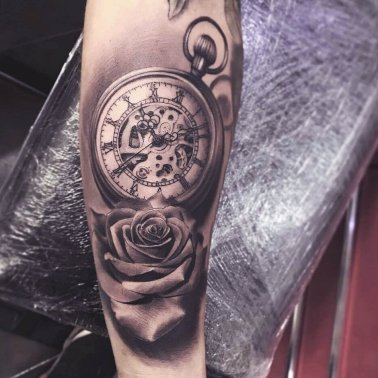 Realistic Clock Rose Tattoo