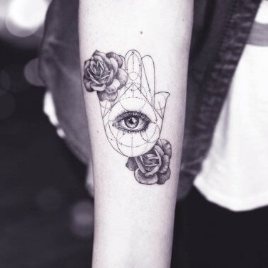 Rose Geometric Unalome Palm Eye Tattoo