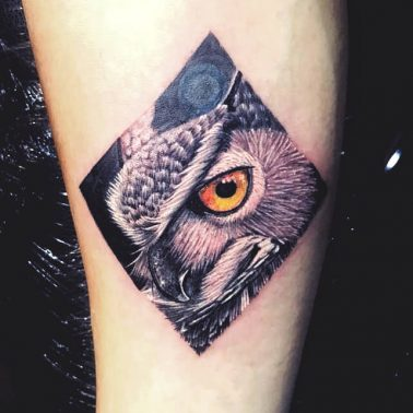 Geometric Portrait Owl Tattoo