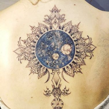 Traditional Moon Back Tattoo