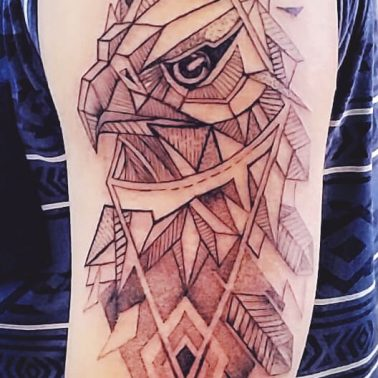 Geometric Hawk Tattoo