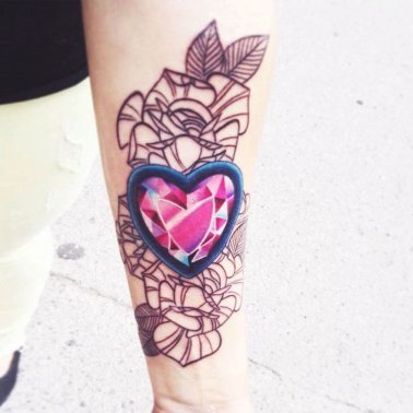 Floral Diamond Heart Tattoo