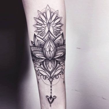 Geometric Ornamental Floral Mandala Tattoo.