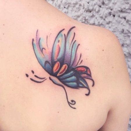 Colourful Butterfly Back Tattoo