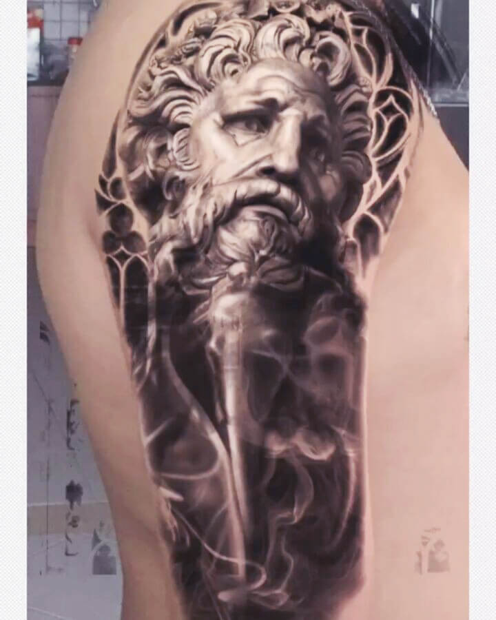 Abstract Greek Portrait Tattoo