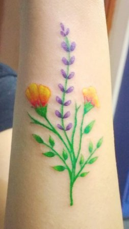 Water Colour Flower Tattoo