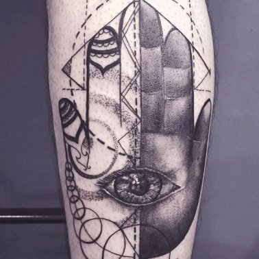 Abstract Realistic Geometric Palm Eye Tattoo