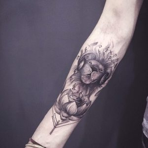 Abstract Lotus Musical Lion Tattoo