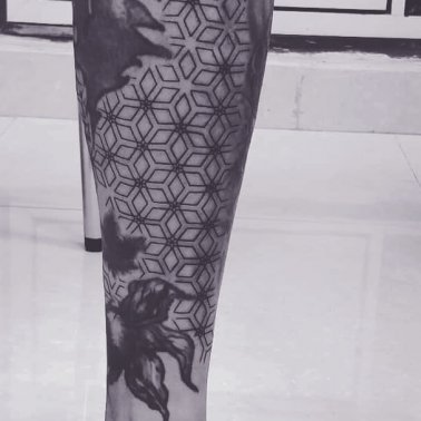 Black And White Floral Geometric Tattoo