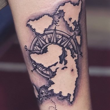 Abstract Map Tattoo