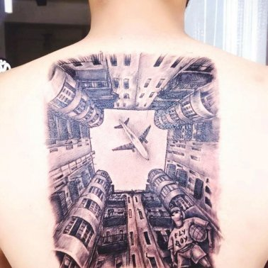 Abstract Realistic Airplane Tattoo