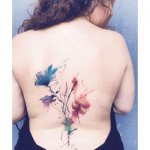 Floral Watercolour Back Tattoo