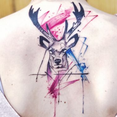 Water Colour Deer Tattoo