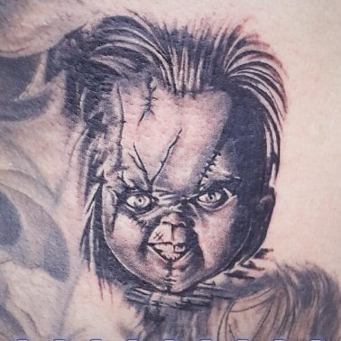 Realistic Chucky The Doll Tattoo