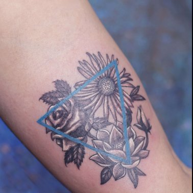 Triangle flower tattoo