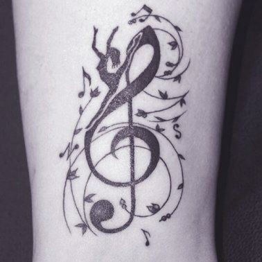 Abstract Musical Note Treble Clef Dancer Tattoo
