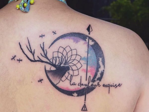 Abstract Script Circle of Life Tattoo