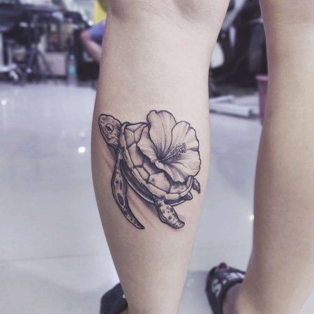 Abstract Hibiscus Turtle Tattoo