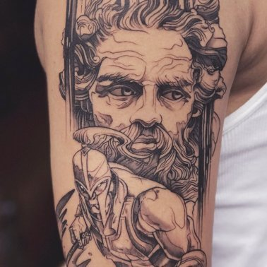 Illustrative Greek Portrait Warrior Tattoo