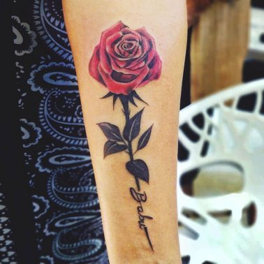 Floral Rose Arm Tattoo