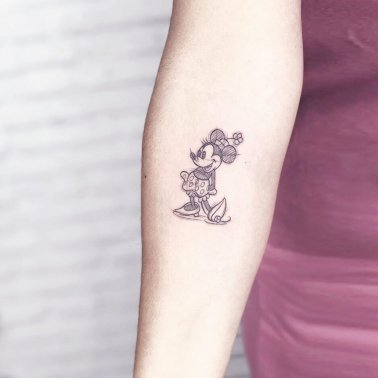 Minimalistic Cute Mickey Mouse Tattoo