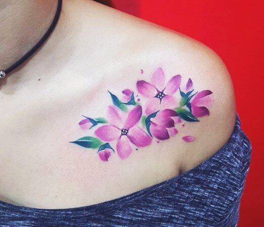 Water Colour Cherry Blossom Chest Tattoo
