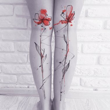 Water Colour Floral Calf Tattoo