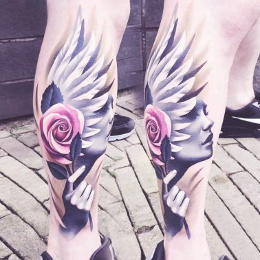 Rose wings Portrait Calf Tattoo