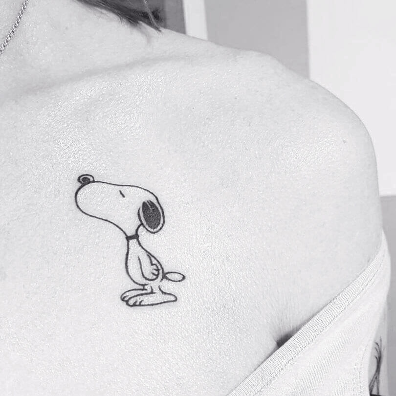 Minimalistic Snoopy Dog Tattoo