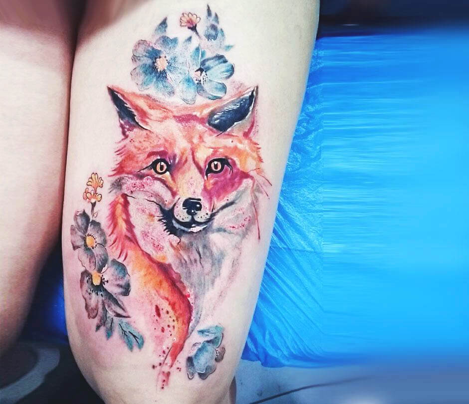 Floral Coloured Fox Tattoo