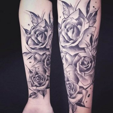 Half Sleeve Rose Tattoo